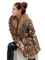 2013 Sexy Leopard Fashion Genuine Natural Rabbit Fur Coat Jackets For Women Warm With Raccoon Fur Collar Women's Outwear Coats