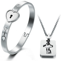 keys heart couples necklace sliver jewelry set heart key bangle necklace stainless steel jewelry set free shipping