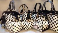 Siwei Ya Paint bag shoulder bag Messenger bag black and white grid