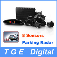 Free Shipping! 8 Sensors Car Reverse Parking Radar Sensor P1488B with LED Display Black