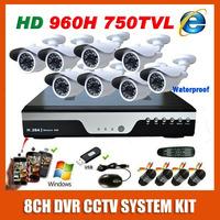 2014 Best Sony 960H Effio 750TVL 8CH CCTV System Kit  Outdoor Waterproof Night Vision Video Surveillance Security Camera System