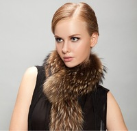 Foxtail Womens Fur Scarf 80cm Long 13cm Width Large 100% Natural Colour  Raccoon Fur Collar For Coat
