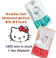 new 2014 baby girls hello kitty dress children kids clothing sets party clothes cartoon suits top quality for 2-6y girl