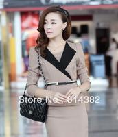 Free Shipping Women Suit Fashion Skirt Dress+Blazer Female Clothing Knee Length Sashes Nylon Solid Long Sleeve Blue Khaik S~L