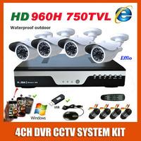 Full 4CH D1 HDMI H.264 DVR Kit Sony 960H Effio CCD 750TVL Video Outdoor Night Vision Camera CCTV System Mobile Surveillance