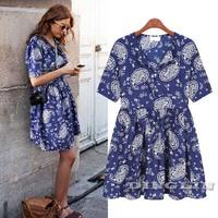 Retro Fashion Womens Ladies Girls Short Sleeve V-Neck Floral Ruffles Casual Chiffon Summer Mini Dress Vestido Blue Size SML 1037