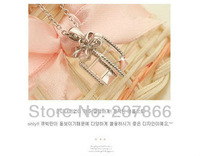 FREE SHIPPING Fashion Jewelry wholesale Small gift bow clear crystal necklace short paragraph