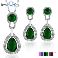 JewelOra Christmas Gifts multi-color crystal Wedding Jewelry necklaces with earrings silver plated Lady Jewelry Sets #JS100365