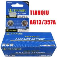 20pcs AG13 LR44 357A SGS Certificate TIANQIU Brand 1.55V Alkaline Coin Battery for Watch Lighter/ Button Cell Batteries