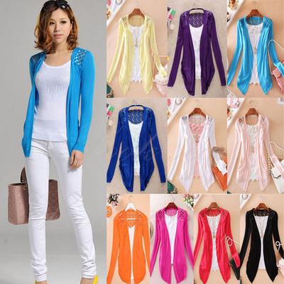 2013 new fashion women Lace Sweet Candy Color Crochet Knit jacket Cardigan free shipping(China (Mainland))
