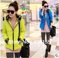 2013 New arrivals Korea Glossy Bright surface WINTER Letters printed thickening cotton Slim Hooded Down WOMEN NEON SIZE L-XXL