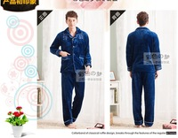 InThe Autumn of 2013 male coral fleece pajamas flannel man leisurewear  men in winter to keep warm family suit blue L,XL,2XL
