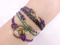 (Min Order $7) Charms Infinity Silver Karma Arrow And Birdcage Rope Girl Leather Bracelet Gift Cuff Wrist Fashion Women Jewelry