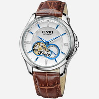 Fashion EYKI Brand Skeleton Automatic Mechanical Hand Wind Watch for Men / Men's High Quality Leather Strap Watches EFL8629G