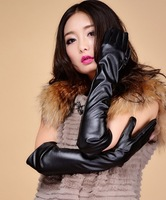 Free shipping new fashion Women's design long leather gloves female winter thermal fashion lengthen finger gloves arm sleeve