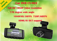 Free Shipping New Design Car DVR Camera CY-903  2.7 inch wide screen with  GPS module + WDR dynamic capabilities