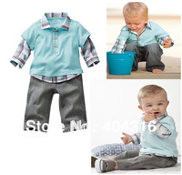Hot selling Handsome Baby Boy Clothes Sets(shirt+ pants)Children's Plaid Suit Spring Autumn Faux Two Piece Long-sleeve Set