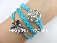 (Min Order $7) Charms Bangle Antique Silver Flower & Wish Tree Blue Lint Rope Bracelet Friendship Gift Fashion Women Jewelry