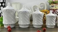 Ceramic kitchen utensils; Embossed  Baroque storage tank; Spice jar