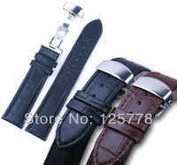 22 mm BLACK Genuine Leather Crocodile Pattern Watch Band Waterproof Strap Stainless Steel Butterfly Clasp Buckle Free Shipping