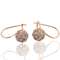 LE019 High Fashion 18K Rose Gold Plated Items Artificial Diamond Pave Ball Hoop Earrings Women's Party Jewelry Christmas Gift