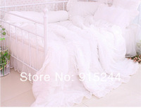 WHITE KING QUEEN lace bedding 4pcs set Rustic princess100%cotton bedding luxury wedding duvet covers home textile comforter sets