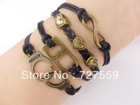 (Min Order $7) Charm Infinity Bangle Antique Bronze Karma Heart Handcuffs Lock Black Rope Girl Leather Bracelet Gift Jewelry