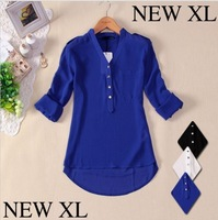 2013 Hot Item Spring Autumn Fashion Sexy V Neck Solid Button Casual Blouse Foldable Sleeve Chiffon Shirt Women XL AVAILABLE