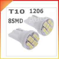 20pcs/lot white T10 8smd 8 smd 8led 8 led 194 168 192 W5W 1206 super bright Auto led car led light/t10 wedge led auto lamp