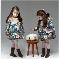 Free shipping Hot Sale children clothing,children wear,children coat,BRAND girls winter cotton coat ,big flower outwear coat