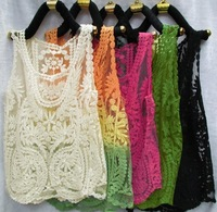 2014 summer gauze embroidery crochet women vest lace shirt solid lace cape hollow out blouse