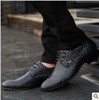 2013 Fashion Weaving Men genuine leather Shoes Low Male Business Shoes Man salomon shoes flatwedge sneakers BLACK FREE SHIPPING