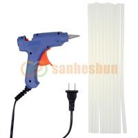 20W 110-240V Blue Electric Heating Hot Melt Glue Gun Crafts Repair Tool Professional + 10 Glue Sticks High Quality
