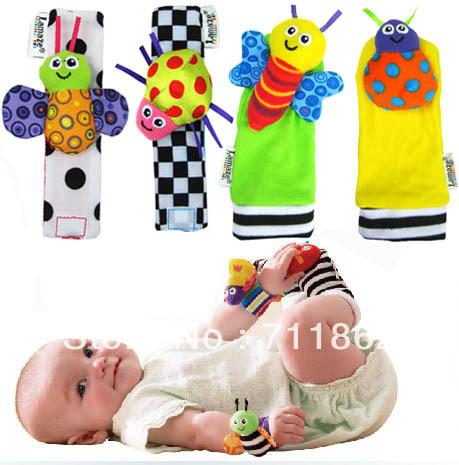 novo pulso bebê chegada pé guizo finder, brinquedo do bebê pulso chocalho + meia pé, brinquedos de pelúcia infantil oddler com caixa de varejo(China (Mainland))