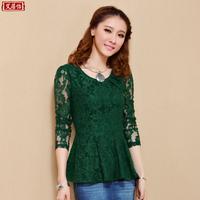 2015 autumn new Women A-hem long-sleeved t-shirt female waist gauze hollow lace shirt