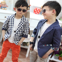 Boys Kids Toddlers Plaid Check Dots Casual Suit Jacket Coat Clothes Outwear 2-7Y Free shipping & Drop shipping XL169