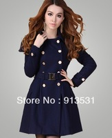 Free shipping quality goods 2013 new arrival Korea style long double breasted wool cape coat with sashes