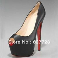 Women Red Bottom 16CM Fashion Pumps,Women Designer Peep Toe Brand High Heels