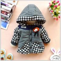 2014  baby boy's coat winter warm thick fleece lining velvet cotton-pad children plaid jacket kid's hooded outerwear cute bear