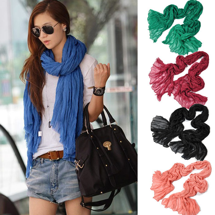 Ladies Girls Women Pure Candy Long Crinkle Soft Scarf Wrap Voile Wraps Shawl Free Shipping(China (Mainland))