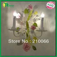 Pink rose flower garden wall light 4pcs/lot Freeshipping light source E14*2 lighting ceramic lamp decorative modern lights