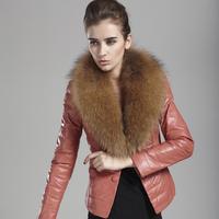 free shipping Women Genuine leather Down Coat Female Short Design Fox fur collar down jack Slim Leather Female over wear Vk283
