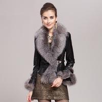 fashion genuine leather down coat women real furs large natural fox fur sheepskin clothing female slim design overcoat vk926