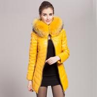 genuine leather down coat women real natural Racoon fur collar coat sheepskin clothing female slim long design overcoat