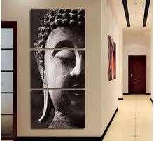 Free Shipping High Quality Hand-painted Group Oil Painting  3 Panel Wall Art Religion Buddha Oil Painting On Canvas Framed C/001(China (Mainland))