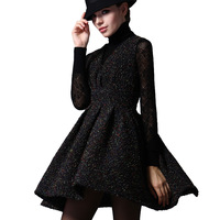 2014 New Autumn and Winter British Slim Waist Black Woolen Sleeveless Vest Dress for Vintage Noble Sexy Women Pleated Ball Gown