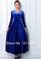 Tall Women  Elegant Velvet Floor Length European Stylish Long Sleeve Winter Dress Maxi Plus Size