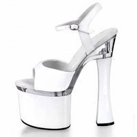 new arrive fashion  2013 high heel 18cm Waterproof 8cm  Transparent  sexy  spool heels women Sandals party shoes size 35-41