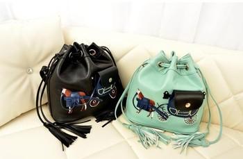 bags women 2013 Tassel carriage bucket bag autumn all-match vintage cartoons messenger bag women's small bag