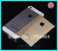 Wire drawing Gold screen protector for iphone 5 and for iphone 5s free shipping